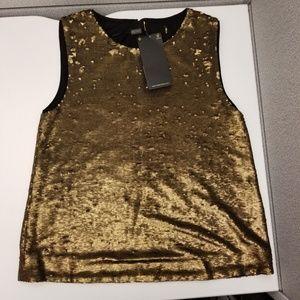 New Massimo Dutti Gold Sequin Shell Top Zara Group